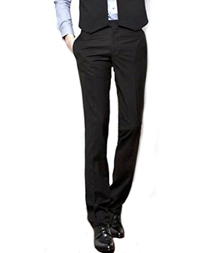 Easy Men's Business Casual Straight-Fit Dress Pants Trousers Pants M Black