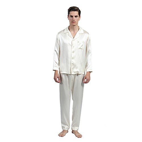 LULUSILK Men's 22 Momme Long Silk Pajamas Set Contrast Trim 100% Pure Mulberry Silk no Satin with One Roomy Chest Pocket