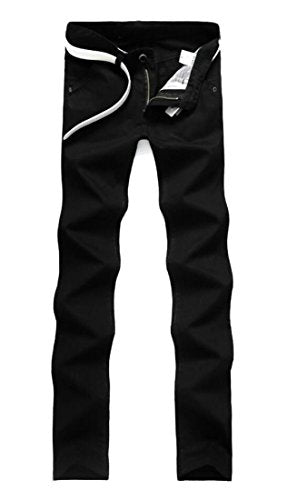 M&S&W Men Casual Fit Solid Color Stretchy Straight Leg Pants Black 27