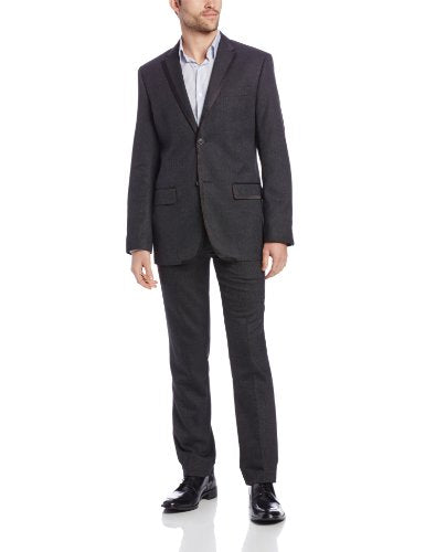Perry Ellis Men's Micro Tweed Two Button Notch Lapel Jacket, Black, Small 38
