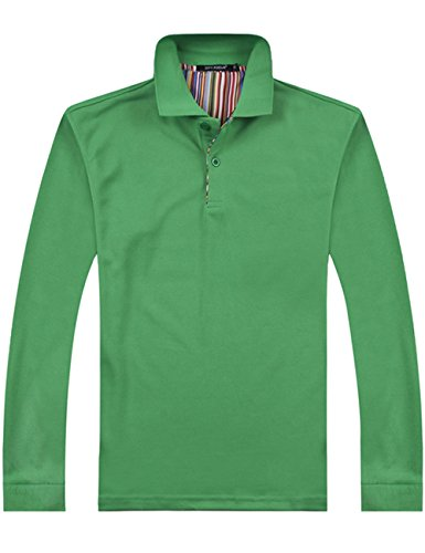 XI PENG Men's Casual Solid Cotton Slim Fit Long Sleeve Dress Polo Shirt (Small, Kelly Green)
