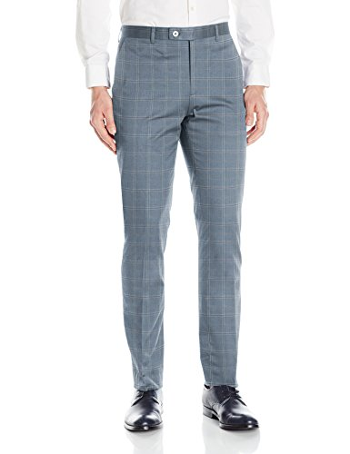 Paisley & Gray Men's Flat Front Slim Fit Hemmed Windowpane Suit Separate Pant, Blue Windowpane, 38W/32L