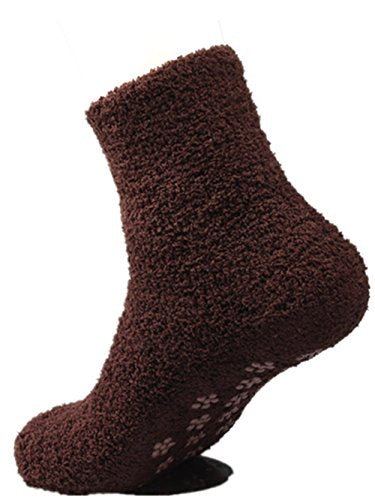 Mens Coral Fleece Slipper Socks with Grips Warm Casual Socks Coffee