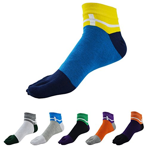 PNBB Fashion Mens Assorted Colors Socks Ankle Socks Toe Socks 7 Pairs of Pack