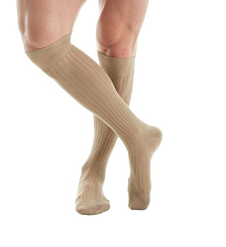 Pantherella OTC Merino Wool Dress Socks - 5x3 Rib (6796) Regular/Light Khaki