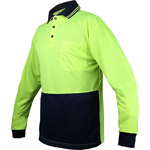 BIG BEE Hi Vis Polo Shirt Safety Workwear Cool Brethable Micromesh Long Sleeve