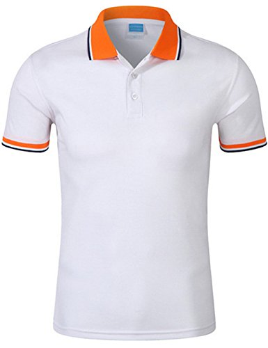 XI PENG Men's Athletic Performance Golf Fitted Short Sleeve Pique Dress Polo Shirt (Medium, White)
