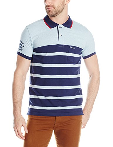 U.S. Polo Assn. Men's Slim Fit Color Block Jersey Polo, Yale Blue Heather, Small