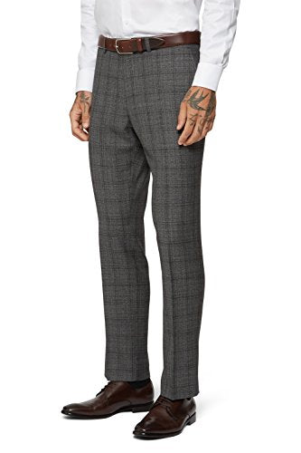 Moss 1851 Men's Tailored Fit Grey Tan Jaspe Check Suit Pants 38R