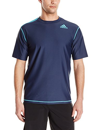 adidas Men's Upf 30+ Short Sleeve Swim Tee, Navy, Medium