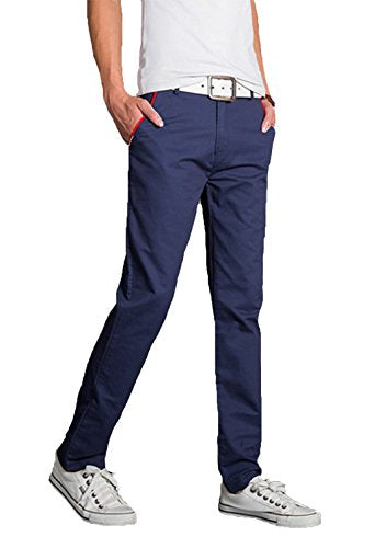 XueYin Men's New Autumn Cotton Washed Casual Slim Wear Pants(navy blue,40 size)
