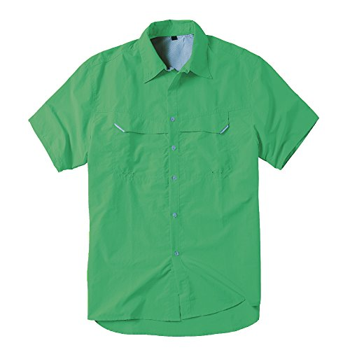 Toomett Men's Outdoor Sun UV Protection Breathable Quick Dry Nylon Short Sleeve Fishing Shirt #5053(Light Green,L)