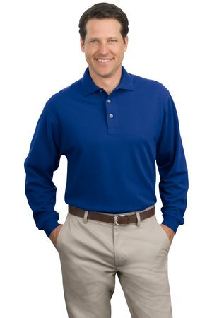 Port Authority - Long Sleeve Pique Knit Polo. K320 - Royal_3XL