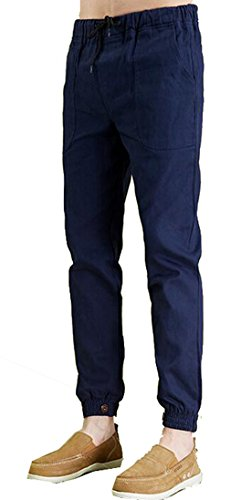Generic Mens Straight-fit Ninth Pant Resistant Flat Front Dress Pant US 3XL Navy Blue