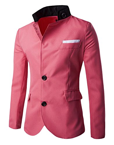 XQS Men's Slim Stylish Stand Collar Single breasted Suit Blazers one US M