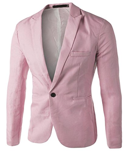 XQS Mens Formal Casual One Button Suit Jackets Blazer Pink S