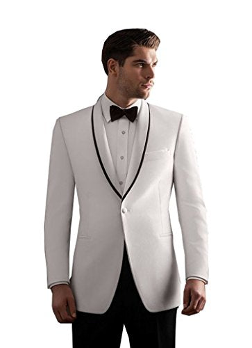 Fenghuavip Elegant White Groom Wedding Tuxedos Suits 2 Pieces (XL)
