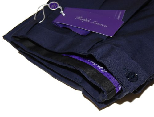 Polo Ralph Lauren Purple Label Mens Navy Pleated Dress Pants Wool Italy 40