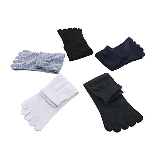 Tinksky 5 Pairs of Men Five Toes Separator Socks Foot Alignment Socks Massager Socks