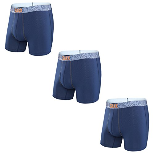 Saxx Men's Quest 2.0 Boxer Fly - Navy/Charcoal - 2XL 3 Pack