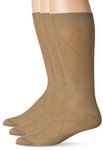 Bruno Piattelli Men's Basket Weave Crew Socks, Camel, One Size/10-13/Shoe Size 6-12 (3 Pack)