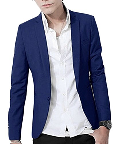 Alion Mens Slim Fit One Button Casual Blazer Jacket 1 XS