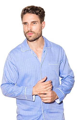 Sant and Abel Men's Blue Herringbone Button Up Long Sleeve Shirt Large Blue