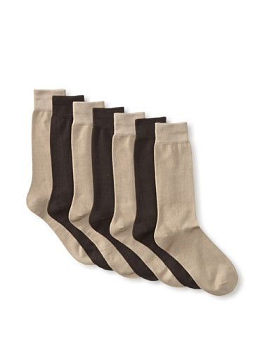 Van Heusen Men's 7 Pack Flat Knit Dress Crew Sock, Assorted Brown/Khaki, One Size