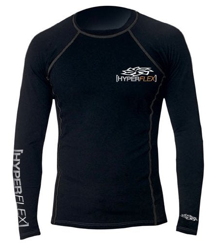 Hyperflex Wetsuits Men's Polyolefin L/S Rash Guard, Black, Small - Surfing, Windsurfing & Wakeboarding
