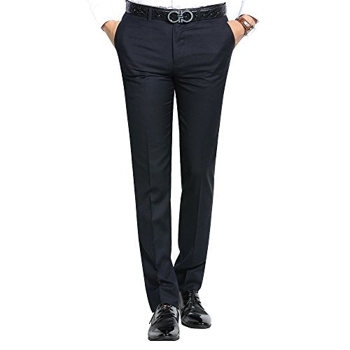 OCHENTA Men's Thin Slim Flat Front Suit Separate Pants Navy Blue 29