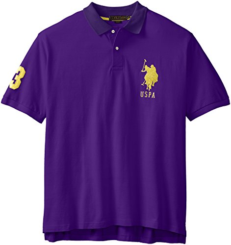 U.S. Polo Assn. Men's Big-Tall Solid Pique Polo, Majesty Purple, 3X