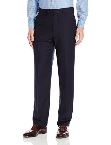 Palm Beach Men's Expander Plain Dress Pant, Navy, 40W Regular