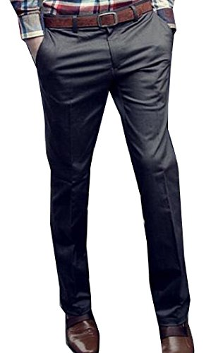 Abetteric Men Plain-Front Flexible-Waistband Suit-Separat Dress Pants Dark Grey XS