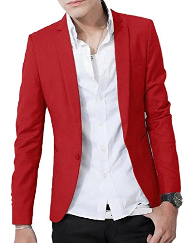 Alion Slim Solid Color Men's Casual Suit Jacket Red S