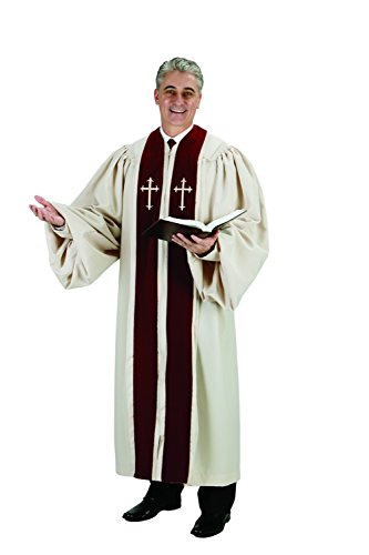 Burgundy CambridgeTM Pulpit Robe with Ivory Crosses
