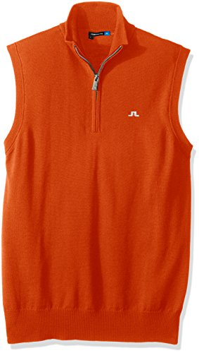 J.Lindeberg Men's Edi Tour Merino Vest, Racing Orange, M