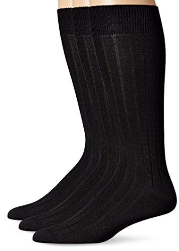 Bruno Piattelli Men's Ribbed Crew Socks, Black, 10-13 (3 Pack)