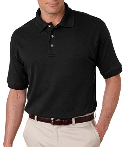 UltraClub Men's Egyptian Interlock Polo Shirt, Black, XXX-Large. (Pack of 6)