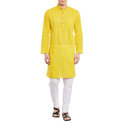 Mens Embroidered Cutwork Cotton Kurta Machine Embroidery, Yellow Chest Size: 38 Inch