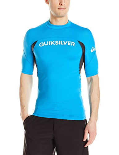Quiksilver Men's Performer Short Sleeve Rashguard, Blue Danube/Tarmac, Medium