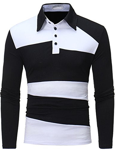 XI PENG Men's Casual Slim Fit Striped Cotton Long Sleeve Dress Polo Shirt (Small, Black)