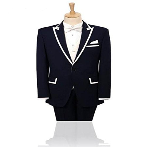MLT Men's 2 Pieces Black Jacket with White Laple Groom Suits (S)