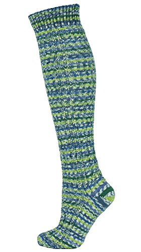 Mysocks Knee High Irish Virgin Wool Socks Fairisle Lime Green Blue