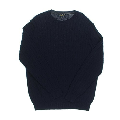 Club Room Mens Cable Knit Crew Neck Pullover Sweater Navy S