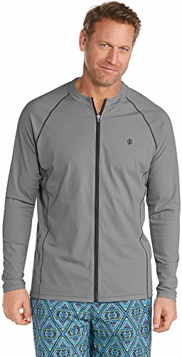 Coolibar UPF 50+ Men's Long Sleeve Water Jacket - Sun Protective (Small- Pomice Grey)