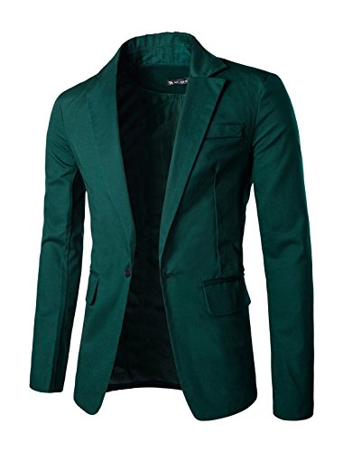 uxcell Men Notched Lapel Center-Vent Back One-Button Blazer Dark Green L