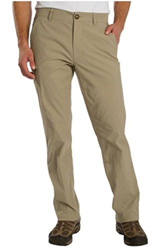 UB TECH Men's Rainier Travel Chino Active Cargo Pants UPF 50 Water Repellent (Khaki, 34W x 32L)
