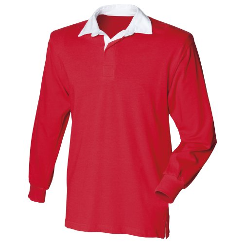 Front Row Mens Long Sleeve Sports Rugby Shirt - Large / Chest 40 - 42in - Red