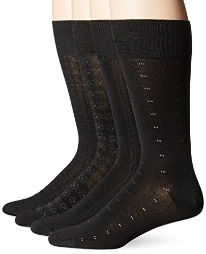 Kirkland Signature - Mens Dress Socks - Black - 4 Pairs - Fits Shoe Sizes 6 1/2-12