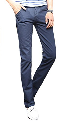 XQS Men's Premium Cotton Slim-Tapered Flat-Front Dress Pants Sapphire Blue 36